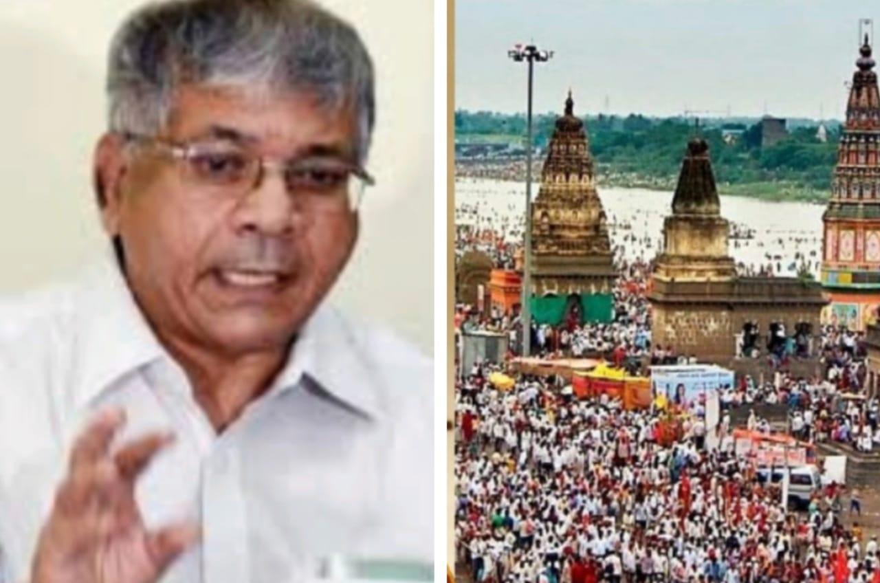 Adarsh Maharashtra   विठ्ठल मंदिर उघडण्यासाठी प्रकाश आंबेडकर यांच्या नेतृत्वात १ लाख वारकरी...